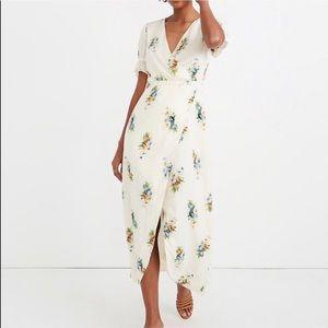Madewell Midi White Floral Wrap Dress